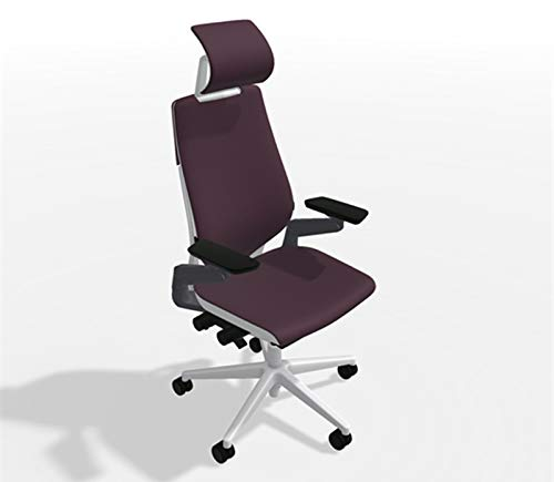 Steelcase Gesture Office Desk Chair with Headrest Plus Lumbar Support Bo Peep Grapevine Fabric High Platinum Metallic Frame Hard Floor Caster Wheels Hard Floor Caster Wheels ()