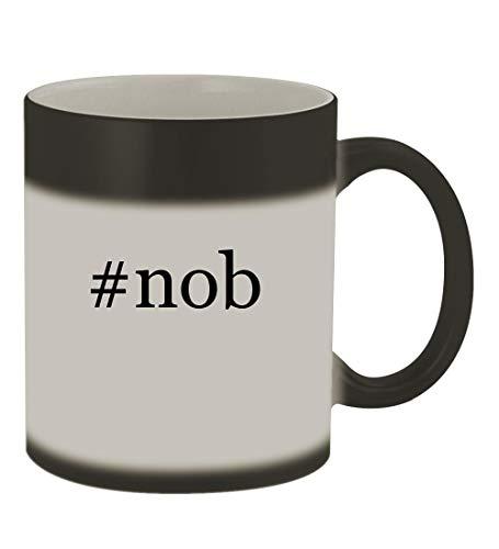 #nob - 11oz Color Changing Hashtag Sturdy Ceramic Coffee Cup Mug, Matte Black
