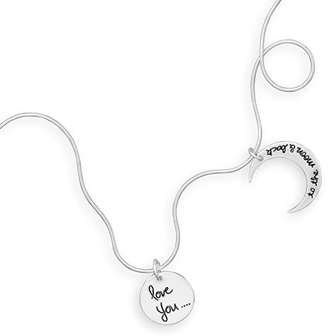 Sterling Silver Snake Chain Necklace, LOVE YOU TO THE MOON AND BACK Charms, 18 inch
