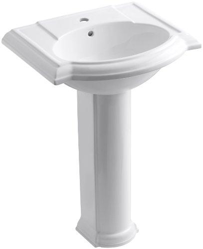 KOHLER K-2286-1-0 Devonshire Pedestal Bathroom Sink with Single-Hole Faucet Drilling, White