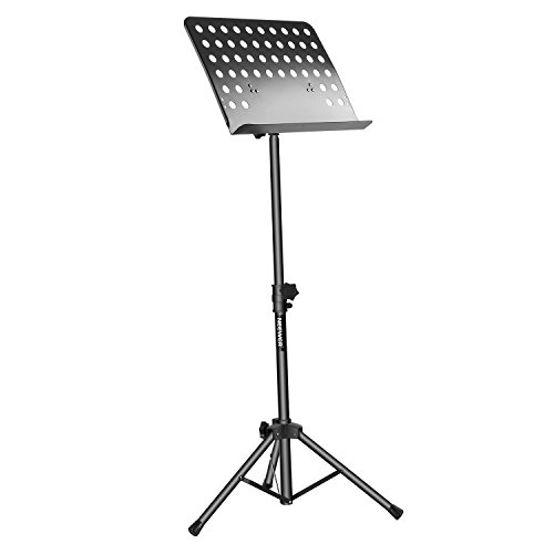 Neewer Collapsible Sheet Music Stand with 24.8-42.9 inches/63-109 centimeters Adjustable Height and 180 Degree Tray Tilt Bookplate, Durable,Lightweight and Portable for Instrumental Performance(Black) (Collection Keyboard Tray)