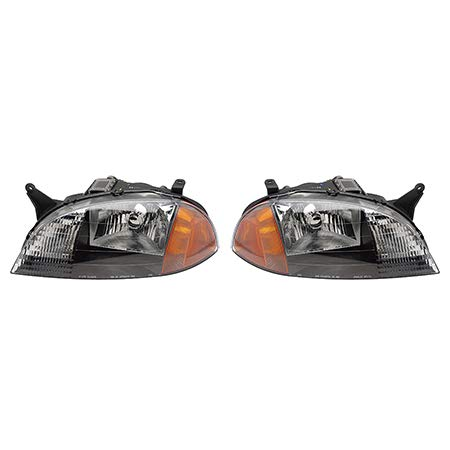 Fits 1998-2001 Chevrolet Metro Pair Head Lights Driver and Passenger Side Assembly Unit GM2502166 GM2503166 - replaces 98-99/01 91175607 98-99 91174064