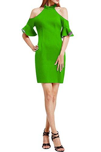 Vintage Ivydressing Festkleid Damen Grün Kurz Abendkleid Rundkragen Chiffon Linie Etui Partykleid Promkleid Schlitz CC5xw