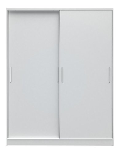 Manhattan Comfort Chelsea Full Wardrobe 2.0 2 Sectional Stand Alone Wardrobe Cabinet with Sliding Doors, 8 Adjustable Shelves, 3 Drawers, and 2 Hanging Rods, 70″ Wide, White