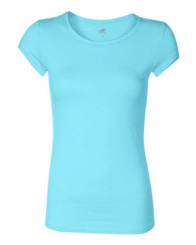Alo Sport Ladies' Bamboo Short-Sleeve T-Shirt - AQUA/WHITE - 2XL ()