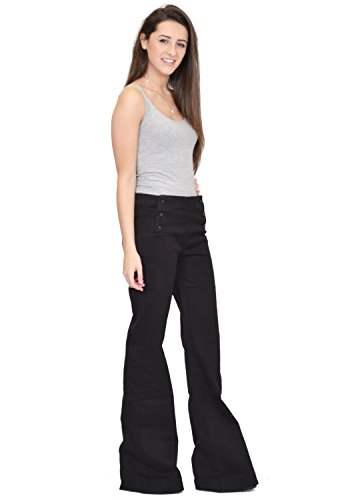 60s/70s Jean Flare - Jambes Larges - Stretch - Noir