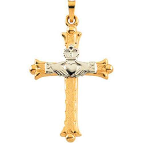EVHjewelry.com 14K Yellow & White 32.5x23.5 mm Hollow Claddagh Cross Pendant Necklace
