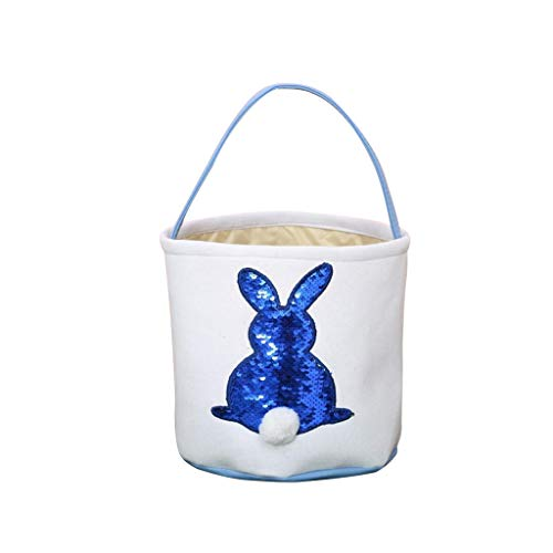 Sunyastor Happy Easter Bunny Bag Easter Bunny Gift Bags for Kids Cloth Easter Eggs/Gift Basket Easter Party Tote Design Cotton Dual Bags for -