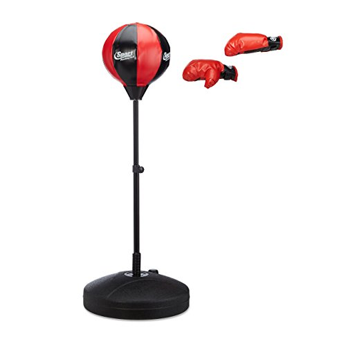 Relaxdays Punching Ball Set Children, Height Adjustable to 118cm, Boxing Gloves, Pump, Leather, Metal, black-red