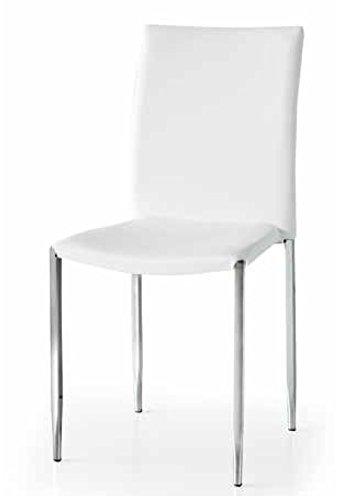 Montefioredesign - Set 4 sedie In Ecopelle Bianca Brigitta: Amazon ...