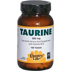 Country Life Taurine, 500 mg, with B-6, 100-Count