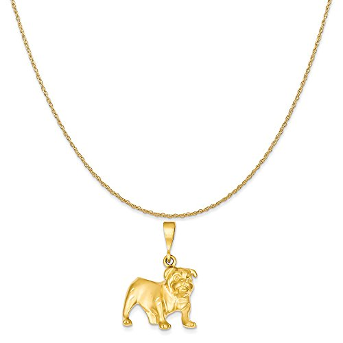 14k Yellow Gold Bulldog Pendant on a 14K Yellow Gold Rope Chain Necklace, 20