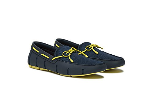 SWIMS Mens Braided Lace Loafers Navy/Yellow zHp1qKX