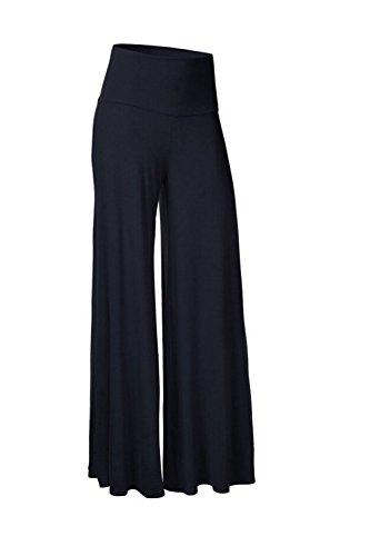 Femmes D'été Palazzo Élégante Long Foncé Bleu Taille Pantalon Haute À Strechy Pour B8Zx4O