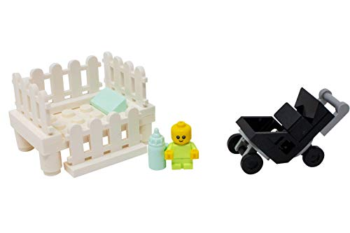 LEGO Baby with Crib, Stroller, and Bottle - Custom Infant Child Minifigure -