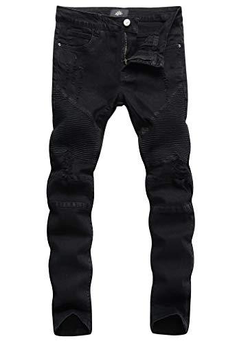 ZLZ Slim Fit Biker Jeans, Mens Super Comfy Stretch Skinny Biker Denim Jeans Pants …