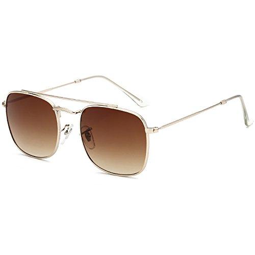 Retro de Hombres sol diseñador sol metal del hombres mano de los UV Marrón Gafas rectangulares100 Gafas para a protección hechas cuadradas Aviador de 4w4qCgr