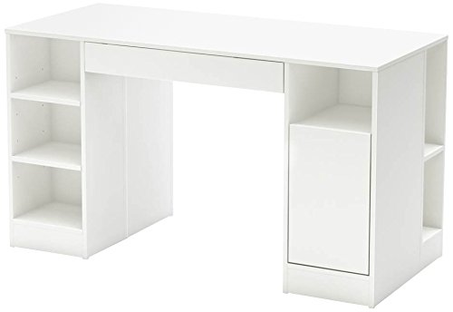 Crea Craft Table with Open and Closed Storage, Pure White ()