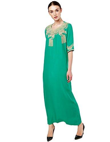 Baya Muslim Dress Dubai Kaftan For Women Half Sleeve Arabic Long Dress Abaya Islamic Clothing Girls Caftan JALABIYA,Green,Medium
