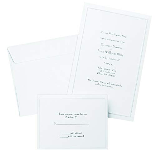 Gartner Studios Border Wedding Invitation Kit, Pearl White, 50-Count (61001) (Renewed)