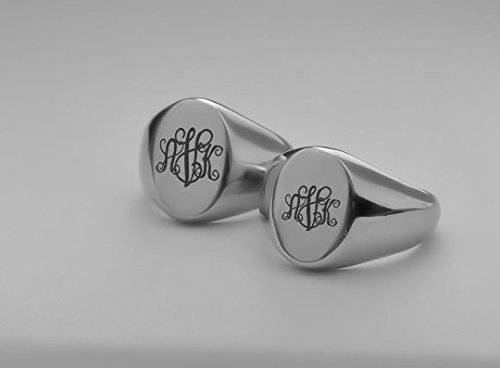 Personalized Stainless Steel Signet Ring Set Custom Engraved