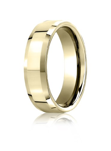 6mm Carved Comfort Fit Band - Mens 10K Yellow Gold, 6mm Comfort-Fit High Polished Carved Band (sz 11.5)