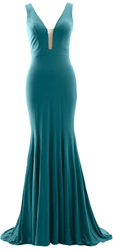 Neck Deep Simple Evening Prom V Gown Mermaid Teal Jersey MACloth Dress Formal wOnqZR6xBf