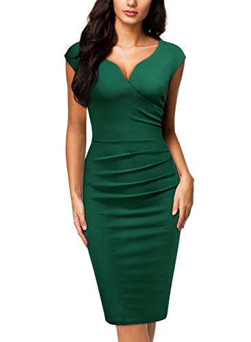 Miusol Women's V-Neck Sleeveless Vintage Slim Style Business Pencil Dress (Medium, Dark Green)