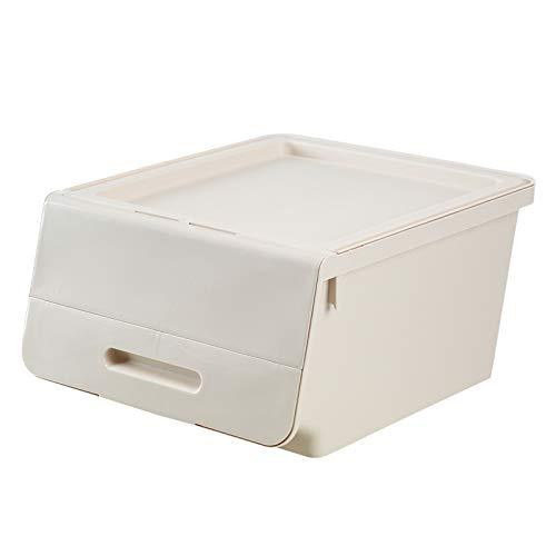 (Covered Storage Box-Oblique Large Plastic Storage Box with Cover Clothes Children's Toys Zero Food Storage Box Kitchen Storage Box Apricot 40.538.523.5CM)