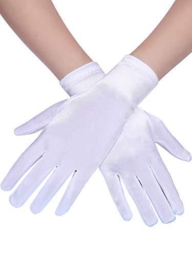 Sumind 3 Pairs Wrist Length Gloves Women Short Satin Gloves Opera Short Gloves for 1920s Wedding Party -