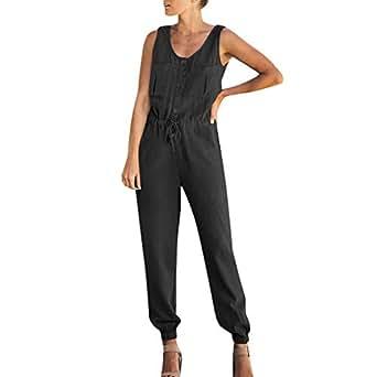 Amazon.com: refulgence Women Button Front Pocket Jumpsuit ...