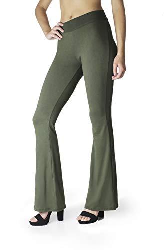 BAYSYX - Flared Bell Bottom Fashion Print Women's Leggings   Yummy Soft Brushed Design (Olive, Small)