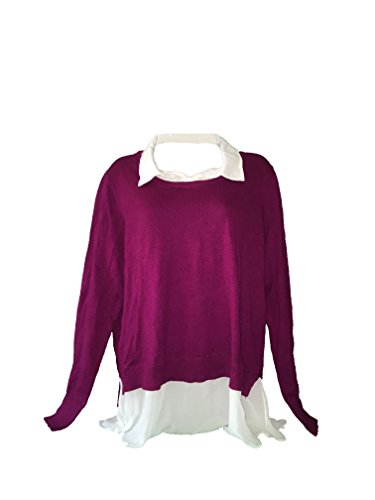 Faux Layered Sweater (DKNYC WOMENS LAYERED LOOK-BUILT IN FAUX SHIRT PULLOVER SWEATER (XL, Magenta))
