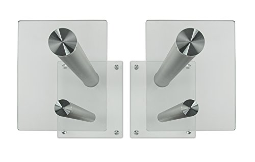 Mount-It! Speaker Stands for Surround Sound Theaters, 22 Capacity, Glass and Silver,