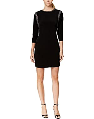 Calvin Klein Womens Rhinestone Trim Back Keyhole Cocktail Dress