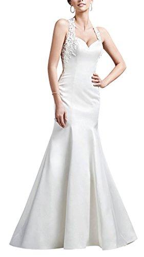 doch Elfenbein dick BRIDE GEORGE Boutique Spitze Satin Hochzeitskleid luxurioese Einfach und qPx6O