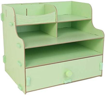 NMBD Bürozubehör Storage Rack Holz Büro-Schreibtisch Schreibtisch Schlaf Schreibtisch Bürobedarf Schublade Dateiinformationen HUYP (Farbe: Holzfarbe) (Color : Green)
