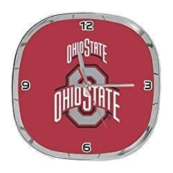 Ohio State, Large Square Chrome Clock with Rounded Corners. Ideal for Family Room, Man cave or Office Decor.