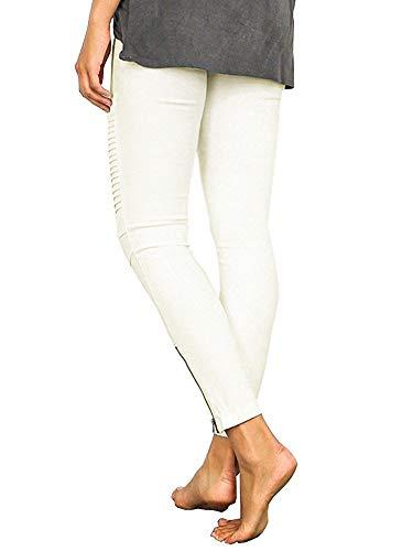 Minces Stretch Skinny Femmes Jambières Pantalons Slim Crayon Fit Leggings Minetom Pantalon Collants Casual Pants Blanc Plis dEzqwXX