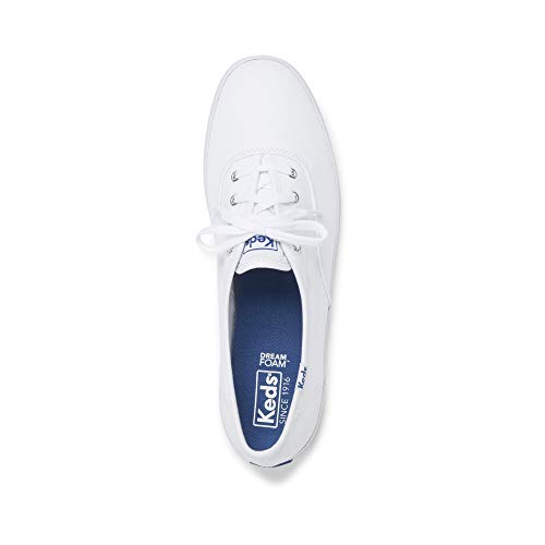Keds Women's Champion Original Canvas Lace-Up Sneaker, White, 8.5 S US