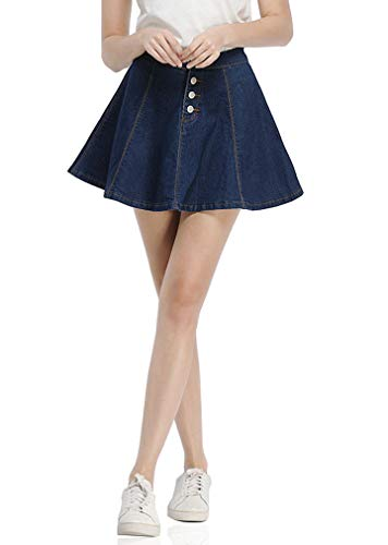 (Soojun Women's Casual Flared Denim Skater Skirt, Small)