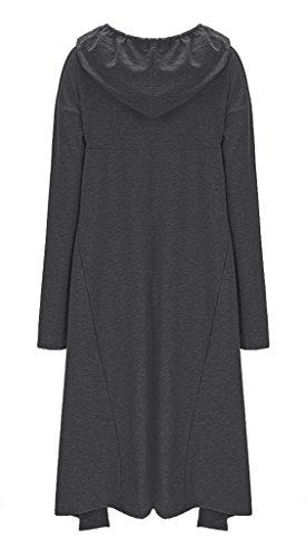 Manche Longue Bigood Femme Top shirt Fonc Casual Mode Gris Capuche Long shirt Sweat T Pull Robe qx44PHrwv