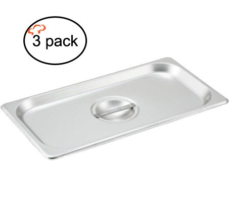 Tiger Chef 1/3rd Size Stainless Steel Steam Table Pan Cover, One-Third Pan Lids, Non-Stick Surface, Solid Lid for Third Size Steam Pans with Handle (3)