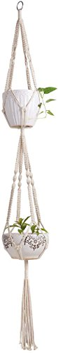 Mkono Macrame Double Plant Hanger Indoor Outdoor 2 Tier Hanging Planter Cotton Rope 4 Legs 67 Inch