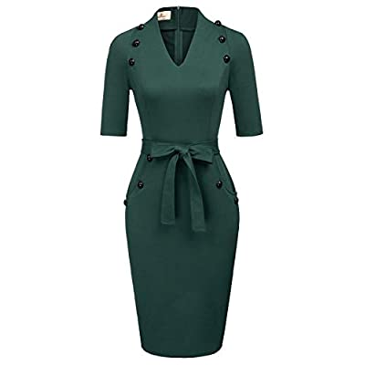 GRACE KARIN Women Vintage Short Sleeve Slim Fit Belted Business Pencil Dress at Women's Clothing store