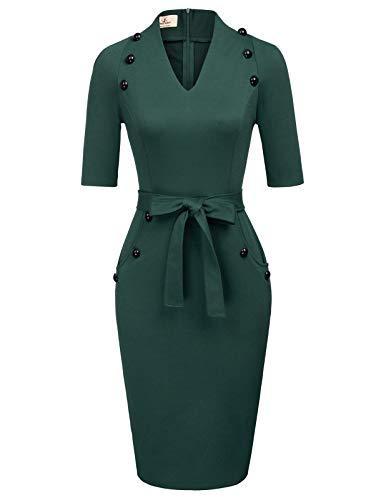Women's Official V Neck Half Sleeve Chic Business Sheath Dress XL Green