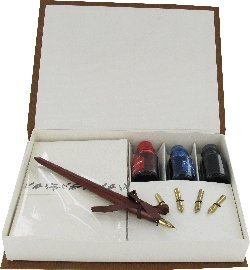 Caligraphy Pen Set Wood Pen, 4 Nibs,3 Inks & Sationery in Gift Box CAL7