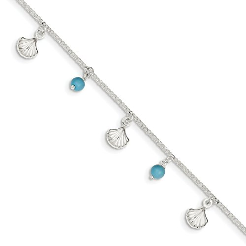 ICE CARATS 925 Sterling Silver Sea Shell Mermaid Nautical Jewelry Blue Turquoise 1 Inch Adjustable Chain Plus Size Extender Anklet Ankle Beach Bracelet Seashore Fine Jewelry Gift Set For Women (Heart Shell Anklet)