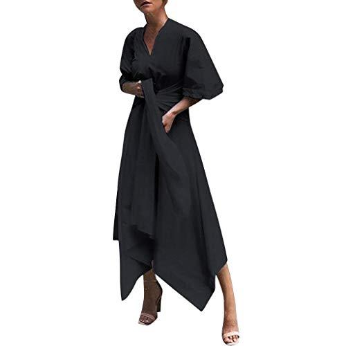 Women's V Neck Evening Dress, AgrinTol Women Short Sleeve Party Dress Asymmetrical Cross Belt Long Dress (XXL, Black)