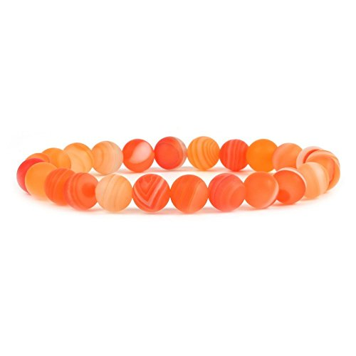 Matte Red Banded Agate Gemstone 8mm Round Beads Stretch Bracelet 7